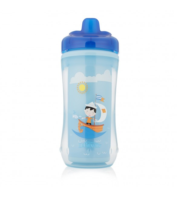Dr. Brown Hard-Spout Insulated Cup Blue Sailboat -12m+