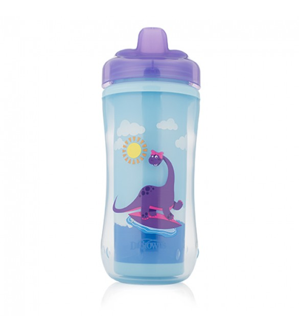 Dr. Brown Hard-Spout Insulated Cup Purple Dino-12m+