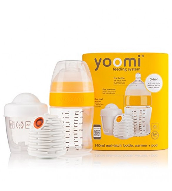 yoomi 8oz bottle(240 ml) + warmer + slow flow teat+ Pod-YOOMI 3 IN 1