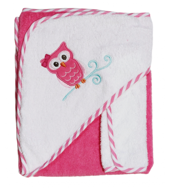 Hooded towel and washcloth (Owl)