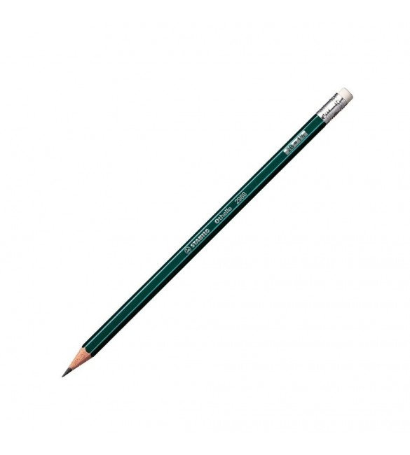 Stabilo Othello Pencil 2B with Rubber Green with Stripes-12