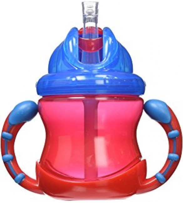 Nuby Two-Handle Flip N' Sip Straw Cup, Red With Blue