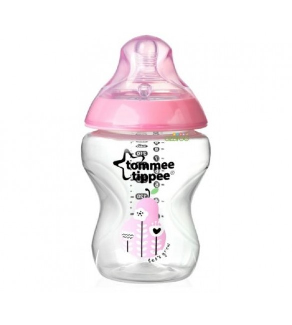 Tommee Tippee Closer to Nature - EasiVent - Decorative Feeding Bottle 260ml - Pink