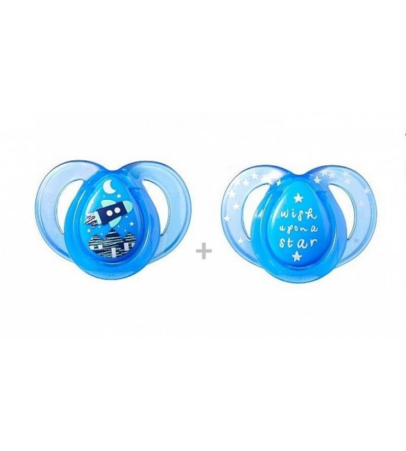 Tommee Tippee SOOTHER  NIGHT STYLE X2-Blue