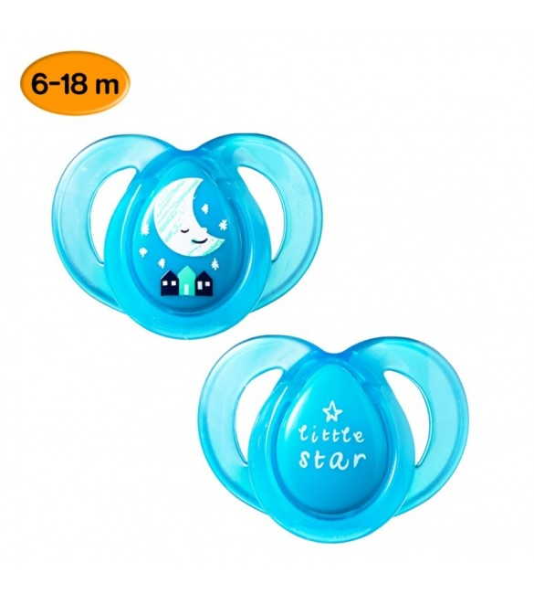 Tommee Tippee SOOTHER  NIGHT STYLE X2-turquoise