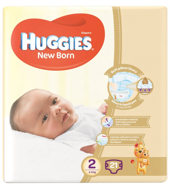 Huggies New Born Size (2) 4-6KG Diapers 21
