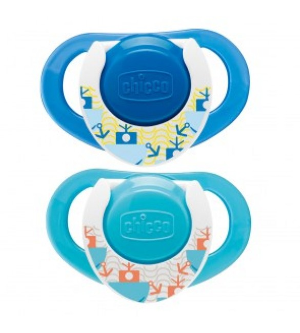 Chicco Physio Compact Blue 12M+ Silicone 2Pcs
