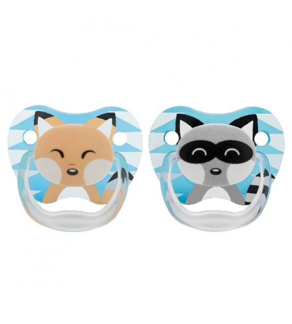 Dr Brown's 2 Pack Prevent Orthodontic Raccoon-Fox Pacifier with Clip -(0-6m)