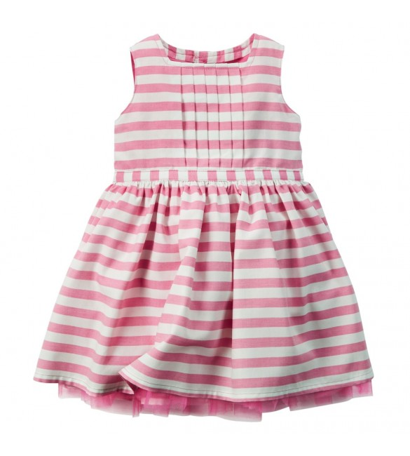 Carter's Striped Poplin Dress-Pink-3M