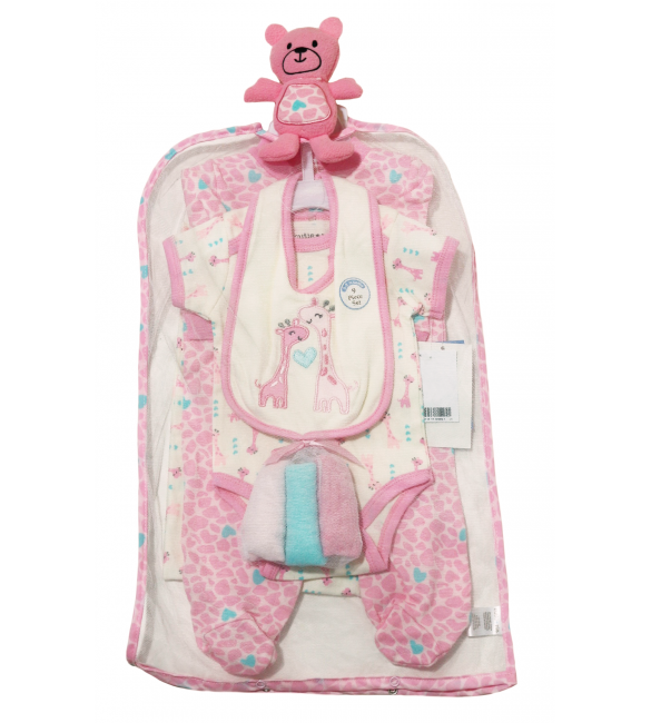 Cutie Pie Baby Girl 9Pc Layette Set in Tulle Bag 0-3months
