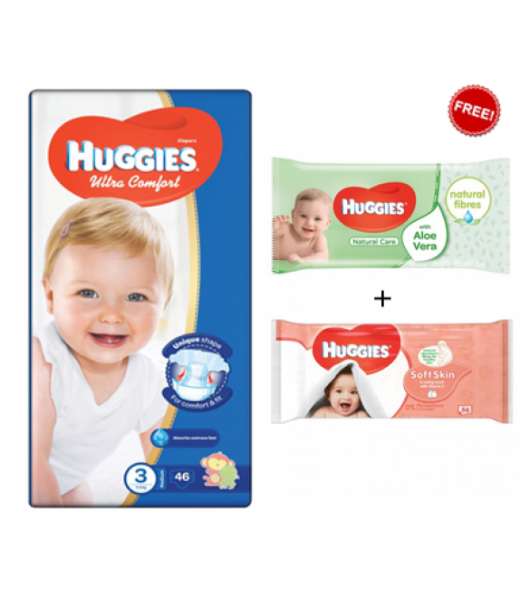 Huggies Jumbo Diapers Size (3) 1X3 with 2 Wipes Offer