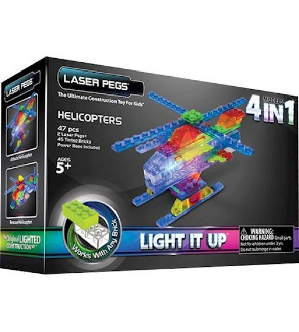Laser Pegs 4-In-1 Helicopter Construction Set