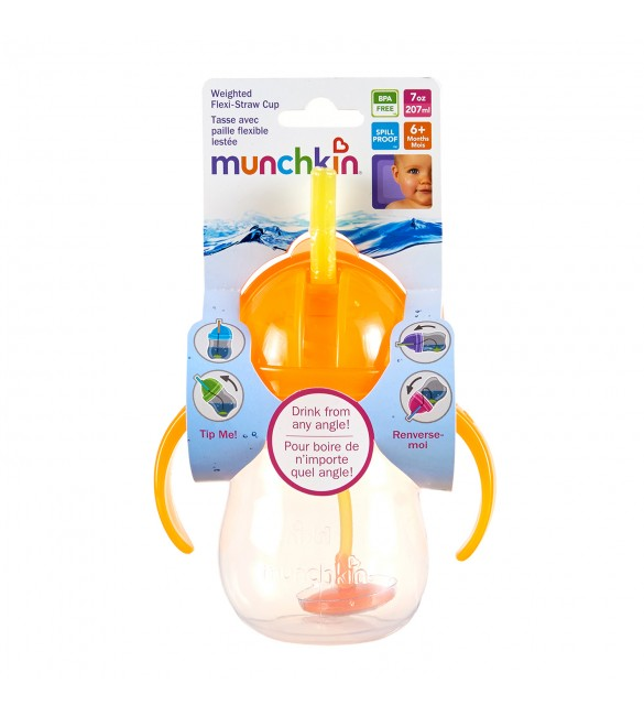 Munchkin Click Lock Weighted Flexi-Straw Cup - 7oz (Orange)