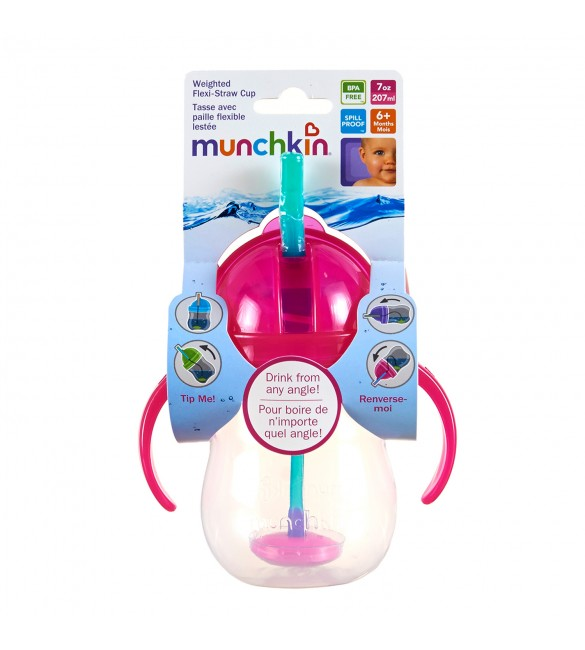 Munchkin Click Lock Weighted Flexi-Straw Cup - 7oz (Pink)