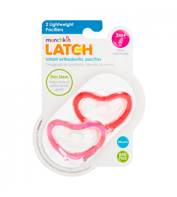 Munchkin LATCH Pacifier 3+ mo - 2 Pack Pink/Red
