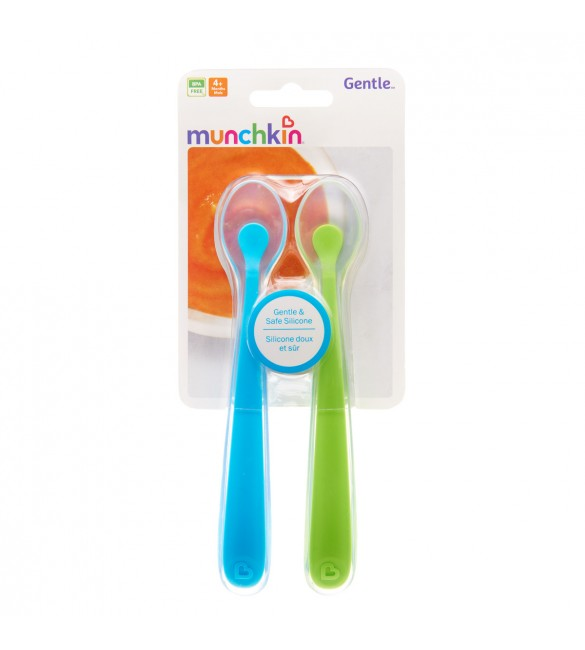 Munchkin Gentle Silicone Spoons - 2 Pack (Green/Blue)