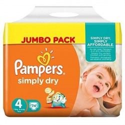Pampers Simply Dry Nappies Size 4 7-18 Kg Pack 74 Per Pack