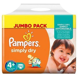 Pampers Simply Dry Nappies Size 4+ 9-20 Kg Pack 70 Per Pack