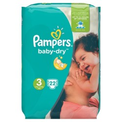 Pampers Baby-Dry Size 3, 4-9 Kg, 22 Count