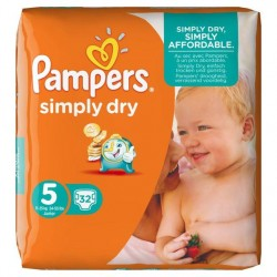 Pampers Simply Dry Nappies Size 5 11-25 Kg Pack 32 Per Pack
