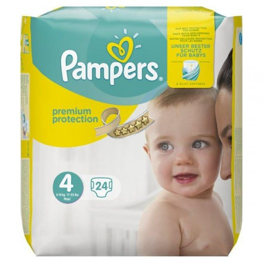 Pampers Premium Protection Size 4 8-16 Kg Pack 24 (Made In Britain)