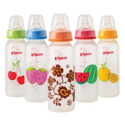 Pigeon Decorated Bottle - (Slim Neck)  240ml Fruits
