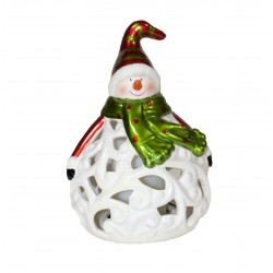 Ceramic Snowman with led candle