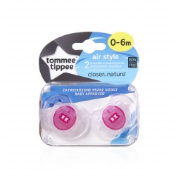 Tommee Tippee Soother Air Style, 0-6 months, Pink