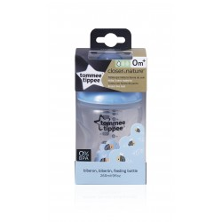 Tommee Tippee Closer to Nature - EasiVent - Decorative Feeding Bottle 260ml - Blue