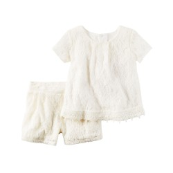 Carter's 2-Piece Floral Lace Top & Short Set (2-4 years old)