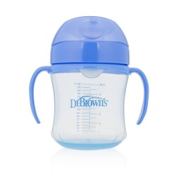 Dr. Brown's 180 ml Soft-Spout Transition Cup - Blue w/ Handles (Stage 1: 6m+)