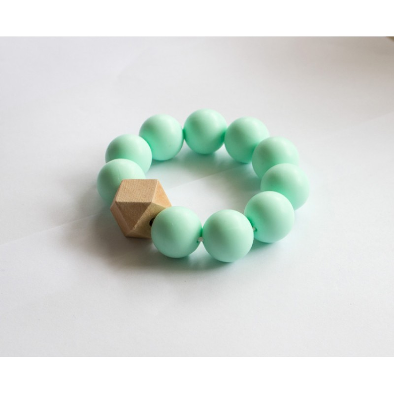 Baby Holder Teething Bracelets With Light Green Beads