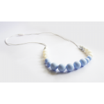 Baby Holder - Blue Teething Necklace with Pearls