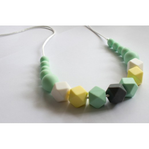 Baby Holder - Green Teething Necklace with Mixed Beads