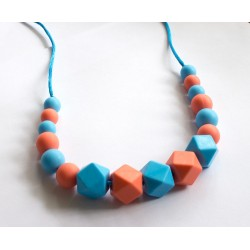 Baby Holder - Teething Necklace with Blue, Red Beads