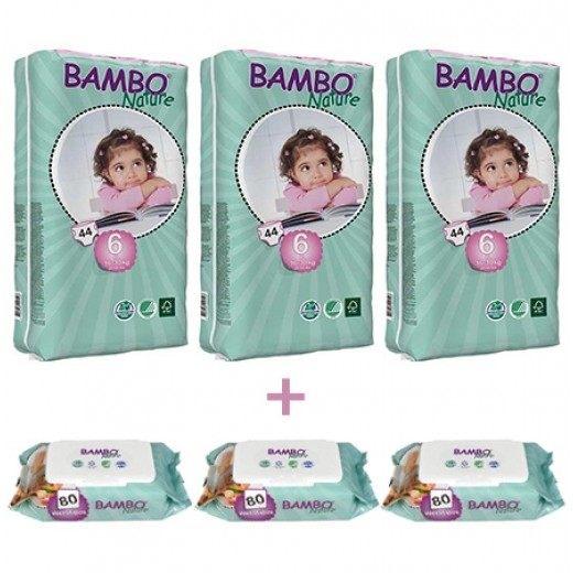 3x Bambo Nature XLTall 6 (16-30 Kg) + 3x Bambo Nature Wet Wipes x80