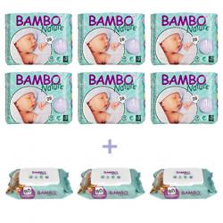 6x Bambo Nature New Born 1 (2-4 Kg) + 3x Bambo Nature Wet Wipes x80