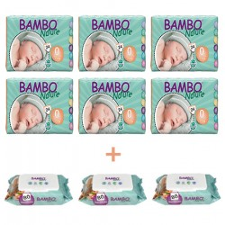 6x Bambo Nature Premium Baby Diapers, Size 0, 24 Count 3x Bambo Nature Wet Wipes x80
