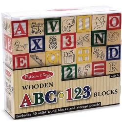 Melissa & Doug - Wooden ABC-123 Blocks Learning Toy