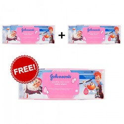 Johnsons Baby Wipes Gentle All Over 56 Pack (Get 2+1 Free)