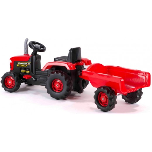 Dolu Tractor Pedal Operated With Trailer - Green or Red