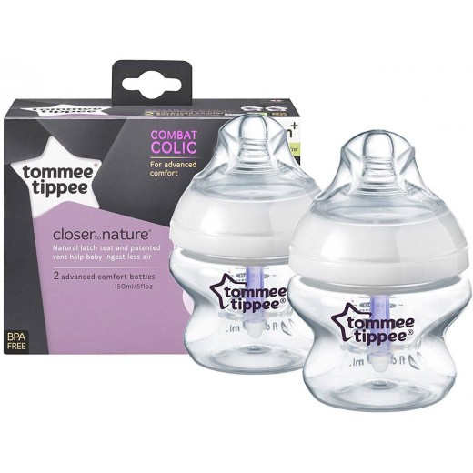 Tommee Tippee Closer to Nature 2x Advanced Combat Colic Bottle - 150ml
