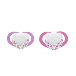 Chicco Physio Soother with Silicone ring, Pink Purple, 4m + 2pcs