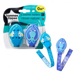 Tommee Tippee Closer to Nature Soother Holders x2- Octopus