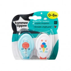 Tommee Tippee Closer to Nature Soother Holders x2- Blue