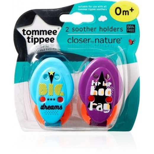Tommee Tippee Closer to Nature Soother Holder, 2 pieces