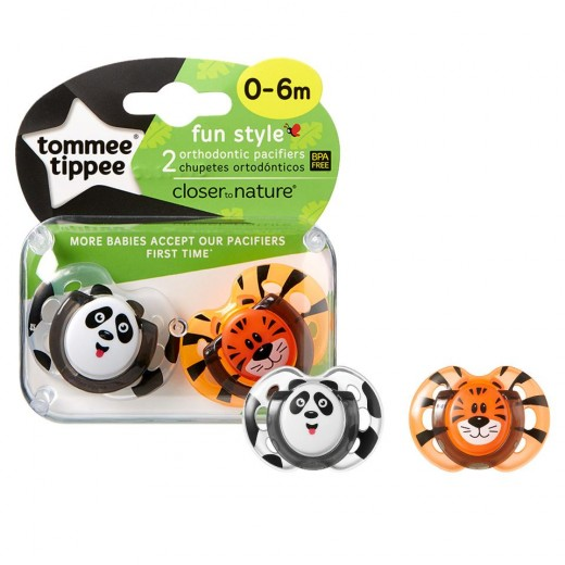 Tommee Tippee Soother Fun Style X2 (0-6 Months) - Lion & Panda