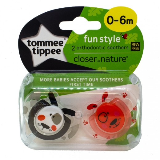 Tommee Tippee Soother Fun Style X2 (0-6 Months) - Dog