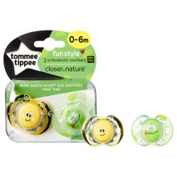 Tommee Tippee Soother Fun Style X2 (0-6 Months) - Bee & Frog