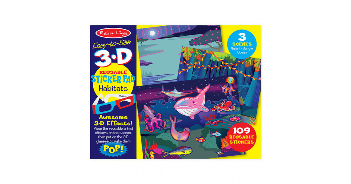 Melissa Doug Easy To See 3 D Reusable Sticker Pad Habitats